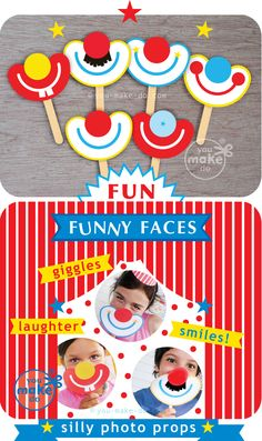 Use these photo booth prop printables to add a photo booth, and fun silliness, to any party theme! These party printables add laughter to a carnival birthday party, wedding shower, wedding, and baby showers! Or, make these circus party printables to give as circus and carnival party favors. Enjoy your own silly carnival photo props! | you make do® |