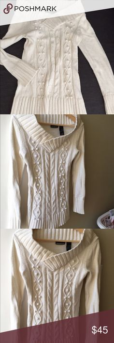 GOTGEOUS Winter White Sweater. The knotting details really make this a stand out. It runs longer so covers your bum . The knock is slightly cowled and shows collar bone, sexy! DKNYC Sweaters Cowl & Turtlenecks