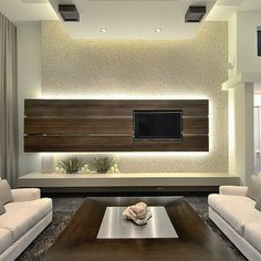 Modern minimalist living room TV background wall design effect chart appreciation. Find thousands of interior design ideas for your home with the latest interior inspiration on Interiorpic includes décor pictures for every Rooms and Garden Contemporary Tv Units, Modern Tv, Modern Interior, Room Interior, Modern Luxury, Interior Ideas, Modern Design, Modern Spaces, Contemporary Homes