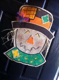 Scarecrow door hanger  burlap- fall door hanger