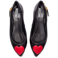 Love Moschino Heart Flat ($265) ❤ liked on Polyvore featuring shoes, flats, flat pump shoes, slip on shoes, synthetic shoes, pull on shoes and flat pumps