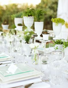 Wedding Tablescapes With Milk Glass and greenery/plants