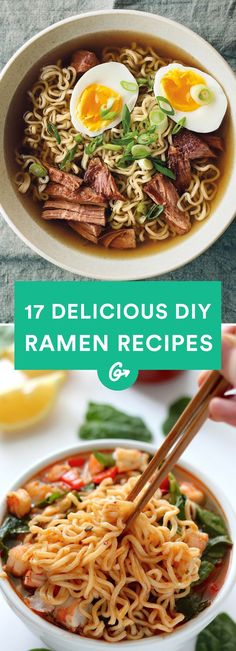17 DIY Ramen Recipes That'll Make You Forget About Instant Noodles Ranging from bacon and egg to spicy Sriracha, these delicious recipes outdo any packaged variety—and are almost as easy to make. - Ranging from bacon and egg to spicy Sriracha, thes… Healthy Ramen, Healthy Eating, Healthy Recipes, Dinner Healthy, Spicy Food Recipes, Healthy Japanese Recipes, Diet Recipes, Shrimp Recipes, Smoothie Recipes