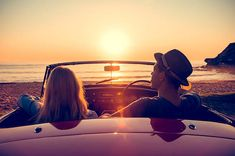 View top-quality stock photos of Couple Watching The Sunset In A Convertible Car. Find premium, high-resolution stock photography at Getty Images. Sunset Photography, Car Photography, Couple Photography, Couple Pictures, Senior Pictures, Senior Pics, Couple In Car, Car Dates, Cory And Topanga