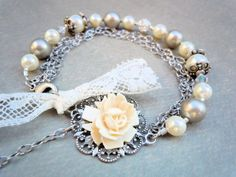 victorian style pearl bracelet with vintage french lace. $42.00, via Etsy.