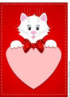 Carte Gros coeur et petit chat blanc pour envoyer par La Poste, sur Merci-Facteur !