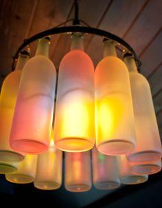Recycled wine bottle chandelier