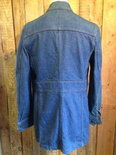 vtg LEVIS denim 1970's safari JACKET coat 36 chest FITTED hippy RARE white tab | eBay