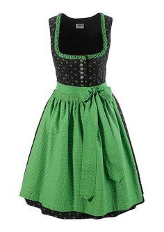 Grünes kurzes Dirndl von Country Line. Traditionelle Muster und schöne satte Farben.