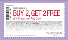 Pinned March 8th: 4-for-2 at Yankee #Candle, or online via promo code 2JARS #coupon via The Coupons App