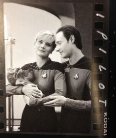 Denise Crosby (Tasha Yar) and Brent Spiner (Data) behind-the-scenes on Star Trek: The Next Generation