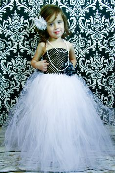 Newborn - Size 8 Black and White Lace Tutu Dress (Add 8.00 listing to cart with this for 6-8 year size). $35.00, via Etsy.