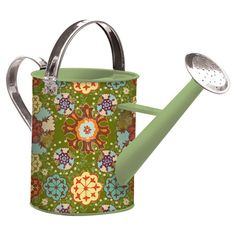 Metal watering can with a multicolor medallion motif.  Product: Watering canConstruction Material: Metal