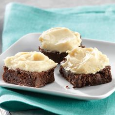 Double Chocolate Brownies with Orange Cream Cheese Icing  Vanilla- and orange-scented cream cheese icing top these extra-fudgy brownies for an indulgent treat you won't believe is actually clean.