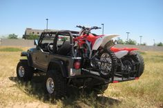 Jeep Wrangler, crewbed extender and dirt bike motorcycle Two Door Jeep Wrangler, Jeep Wrangler Off Road, Jeep Cj7, Wrangler Tj, Jeep Tent, Jeep Truck, Jeep Liberty Renegade, Badass Jeep, Lifted Cars