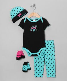 Take a look at this Teal 'Lil' Diva' 5-Piece Layette Set by Baby Essentials on #zulily today!