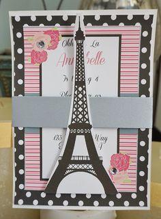 Paris Invitation Paris Birthday Invitation by TooCuteInvites Kids Birthday Cards, Birthday Invitations Kids, Baby Shower Invitations, Birthday Parties, Paris Party, Paris Theme, Paris Invitations, Paris Baby Shower, Debut Invitation