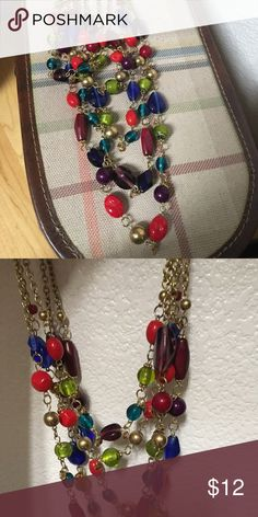 "Multi-Color Necklace 13"" drop, 5 strands, gold tone lobster clasp - sassy & fun! Stein Mart Jewelry Necklaces"