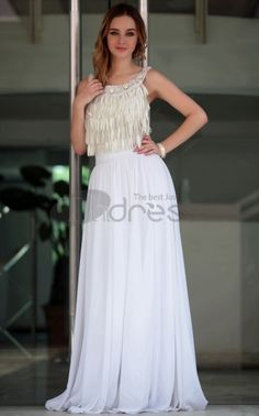Party Dresses For Women-Sexy Floor Length Scoop Neck White Turkish Party Dresses For Women