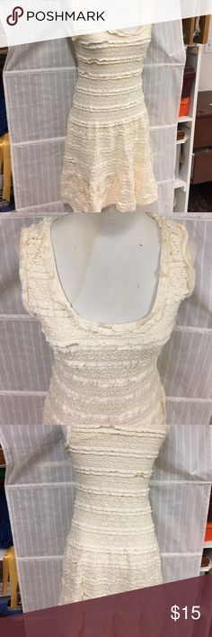 Cute cream lacy dresss Adorable off white drop waist lacy dress! Bought, took off tags, wore once... I don't wear a lot of dresses Max Studio Dresses Midi