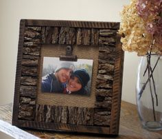 Bark/Burlap Picture Frame by dickersonsdesign on Etsy