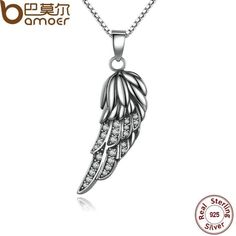 BAMOER 925 Sterling Silver Wing Pendant Necklace SCN027