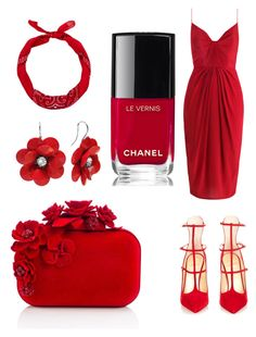 """Red"" by albertrkrogstrup on Polyvore featuring Zimmermann, Christian Louboutin, Jimmy Choo, New Look and Chanel"