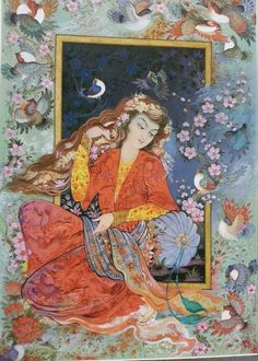 Drawing and painting beautiful pictures, nature, flowers and trees on tile panels to give more beauty for your interior decor Mughal Paintings, Islamic Paintings, Illustrations, Illustration Art, Middle Eastern Art, Paisley Art, Art Asiatique, Exotic Art, Iranian Art