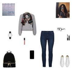 """""""please love me"""" by synclairel ❤ liked on Polyvore featuring Filippa K, Converse, CLUSE, MICHAEL Michael Kors, Chanel, Bare Escentuals, TravelSmith, Fall, cute and casual"""