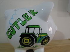 Personalized Jumbo John Deere, Barnyard Bank- Birthday, Christening, Communion Gift Centerpiece
