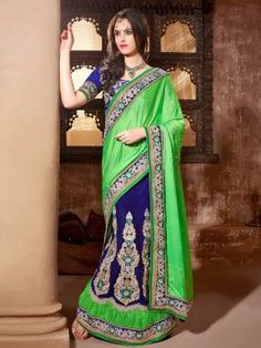 Blue And Light Green Jute Lehenga Saree With Resham Embroidery And Stone Work www.saree.com
