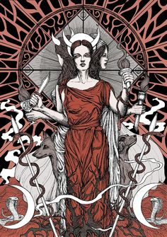 Hecate in Greek mythology was a powerful goddess representing the three aspects of the great Goddess, or Triple Goddess: goddess of fert. Greek Goddess Of Magic, Triple Goddess, Greek Gods, Goddess Of Love, Hecate Goddess, Moon Goddess, Greek Goddess Tattoo, Tattoo Deus, Magick