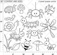 Happy Bugs Digital Stamps - Malen / Zeichnen - New education Monster Coloring Pages, Bug Coloring Pages, Digi Stamps, Felt Animals, Easy Drawings, Doodle Art, Art Images, Embroidery Patterns, Doodles