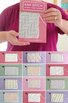 Knit and Purl Stitch Patterns Easily understand exactly how to create each texture stitch-by-stitch with chart diagrams and written instructions to kn. Diy Crafts Knitting, Easy Knitting, Loom Knitting, How To Start Knitting, Knitting Projects, Knitting Books, Knitting Charts, Stitch Patterns, Knitting Patterns