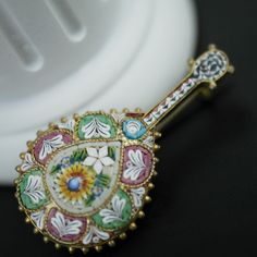 Antique solid silver micro mosaic brooch gilt guitar Italian 800 great gift #Italy