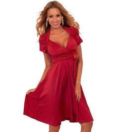 I love this dress and it's very inexpensive Short Sleeve V Neck Ruched Shrug Flowing Empire Formal Bridal Party Dress S M L (Medium, RED) Hot from Hollywood,http://www.amazon.com/dp/B00CELN2TE/ref=cm_sw_r_pi_dp_1lirsb11T74DG81H