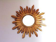 Very huge French Sunburst mirror vintage 1960 N2 by PopVintages