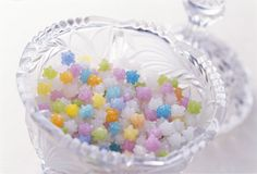 Konpeito (金平糖) is a sugar candy covered with tiny protrusions, which came to Japan from Portugal in 1546. It is also used as a thank-you-for-coming gift by the Japanese Imperial Family.