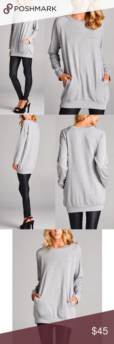LYNNLEE uber soft long sleeve tunic top -H. GREY Semi-loose fit, round neck, long sleeve tunic top with side pockets. Has good stretch.  62% Polyester 36% Rayon 2% Spandex NO TRADE, PRICE FIRM Bellanblue Tops Tees - Long Sleeve