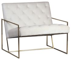 Fabiano Modern Tufted White Poly Damask Arm Chair and Brass Tube Frame Hudson Furniture, Home Furniture, Upholstered Arm Chair, Armchair, Metal Frame Chair, Dovetail Furniture, California Living, White Velvet, Occasional Chairs