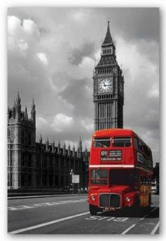 Amazon.com: London - Red Bus Poster Print, 24x36 Collections Poster Print, 24x36: Home & Kitchen