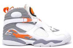 Air Jordan 8 (VIII) Retro - White / Orange Blaze - Silver - Stealth