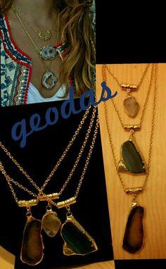 Collares geodas tendencias moda chapa de oro #trendy