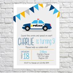 Printable Police Car Birthday Invitation Birthday Party