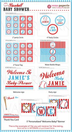 Sport Baseball Baby Shower Package Personalized FULL Collection Set - PRINTABLE DIY - BS804x
