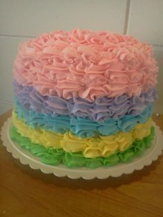 Easter pastel cake! Almond buttercream icing!