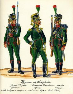 Westphalia; Royal Guard Chasseur Carabiners 1809-12 L to R Chasseur, Officer & Sergeant