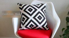 Simple Geometric Zigzag Diamond Checks, black and white 47cm 18'  Pure Cotton Canvas Cushion Cover Throw Pillow Case Pillowcase Cushion Max