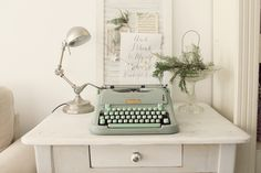 Hermes Media 3  mint green rare working portable typewriter with original case and brushes by Cottoni on Etsy