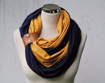 Mustard and navy scarf
